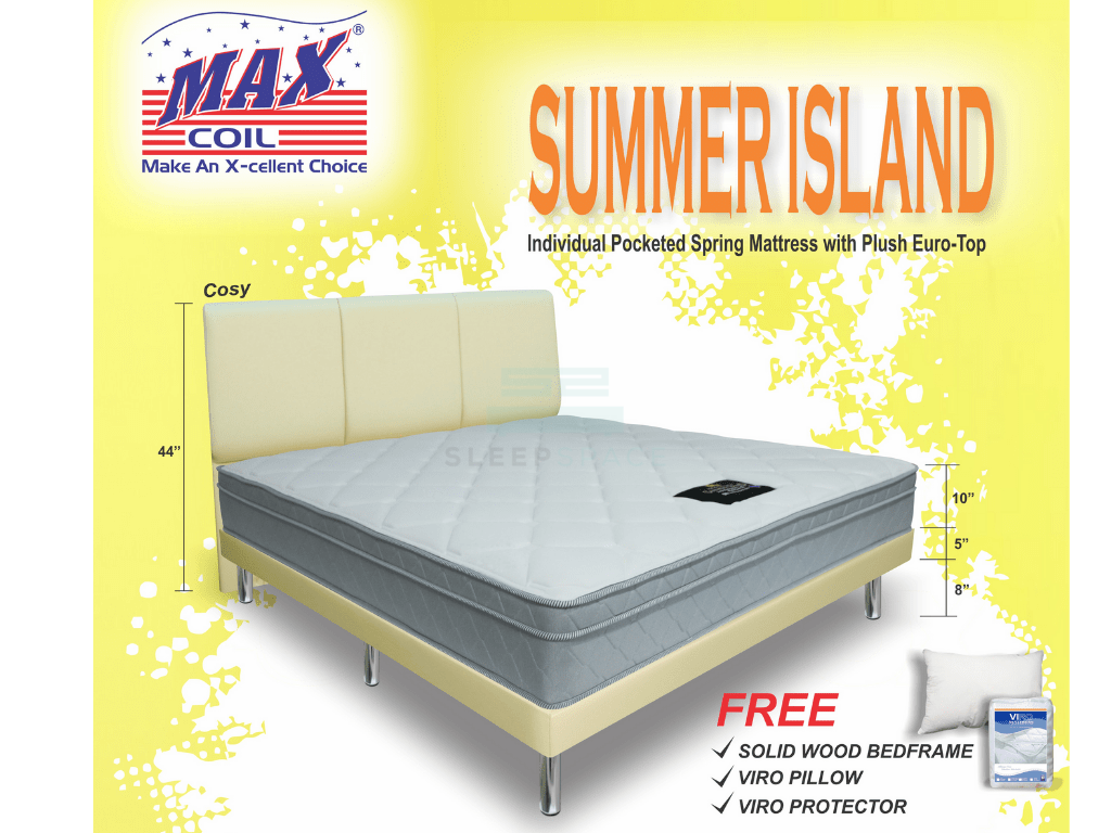 MaxCoil Summer Island Pocketed Spring Mattress & Bed Bundle-Maxcoil-Sleep Space