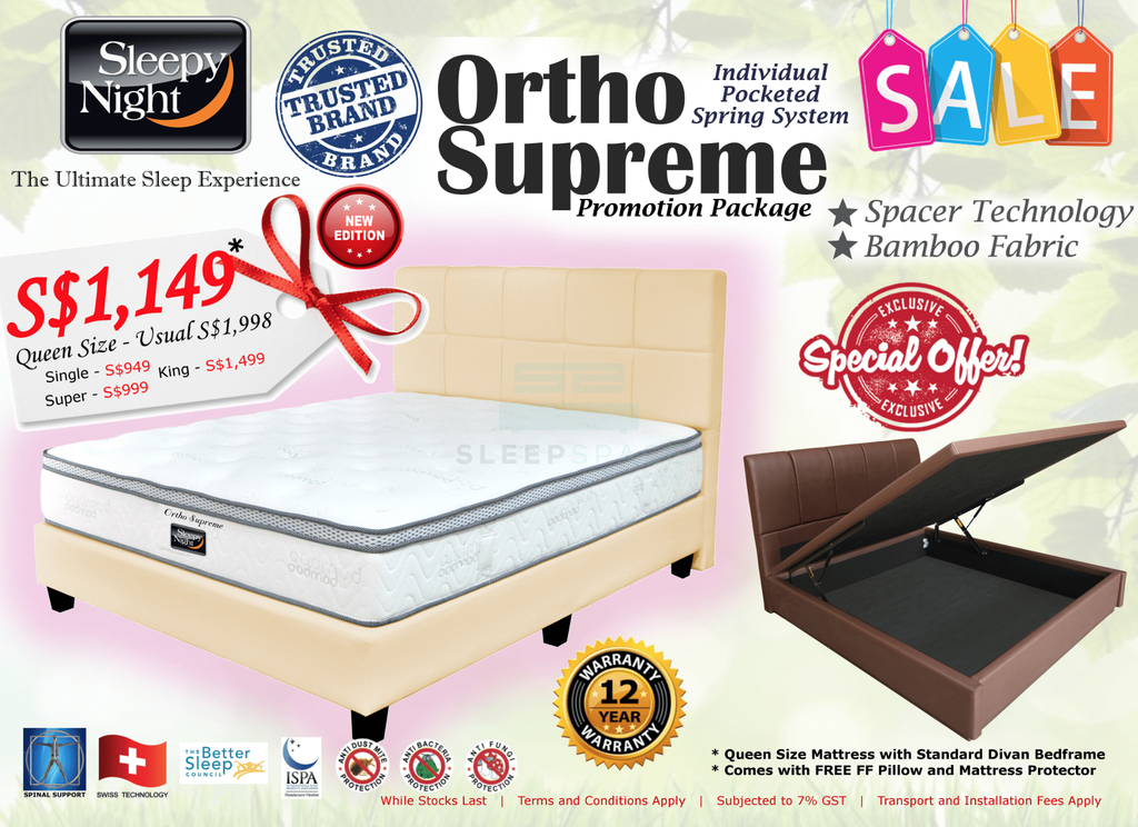Sleepy Night Ortho Supreme Pocketed Spring Bed & Mattress Bundle-Sleepy Night-Sleep Space
