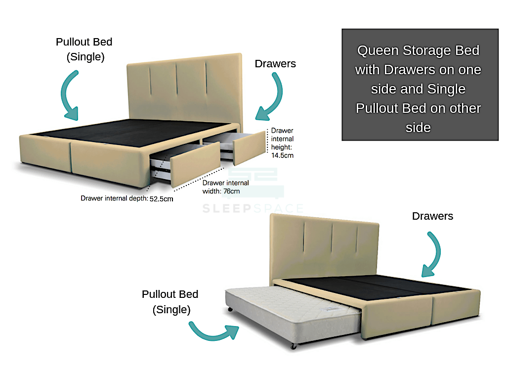 Queen size Viro Pullout Bed + Drawer