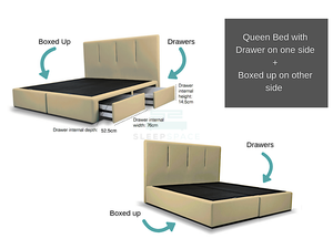 Queen Viro Bed + Drawers Combo (One Side)-Viro-Sleep Space
