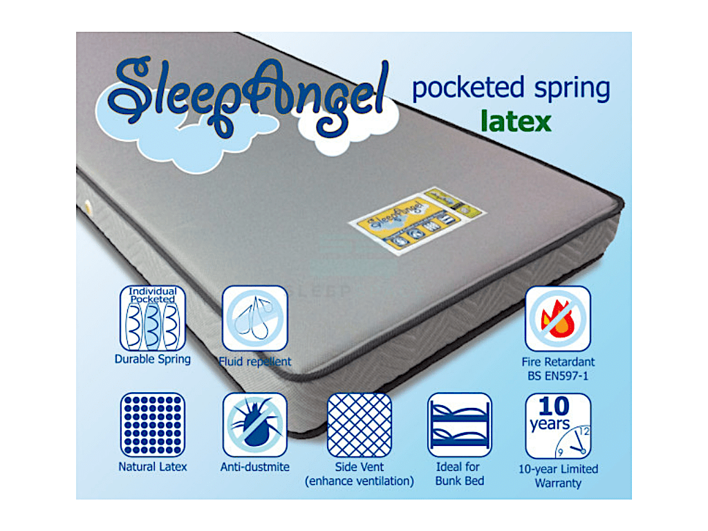 SleepAngel Pocketed Spring with Latex Mattress