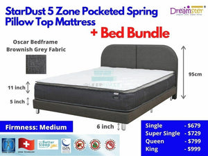 StarDust 5 Zone Pocketed Spring Pillow Top Mattress + Bed Bundle-Dreamster-Sleep Space
