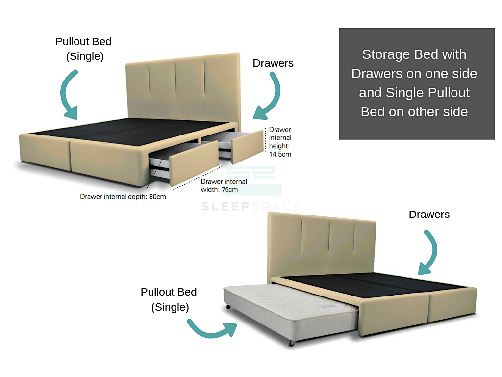 King Size Viro Pullout Bed + Drawer