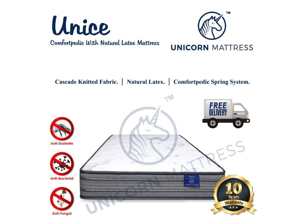 Unicorn Unice Comfortpedic with Natural Latex Mattress (6 Inch)-Unicorn-Sleep Space
