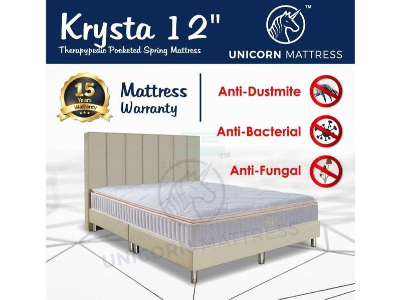Unicorn Krysta Therapypedic Pocketed Spring Mattress (12 inch)-Unicorn-Sleep Space