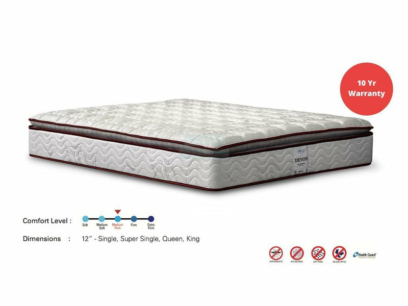 Viro Devon Plush Top Orthopedic Mattress (Anti Mosquito, 12 inch)-Viro-Sleep Space
