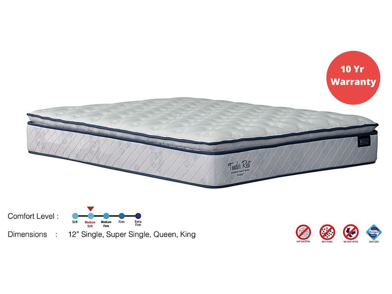 Viro Tender Rest with Pillow Top Mattress (12inch)-Viro-Sleep Space