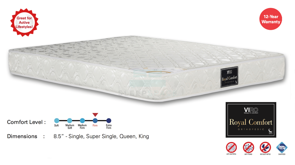Viro Royal Comfort Pocketed Spring Orthopedic Mattress-Viro-Sleep Space