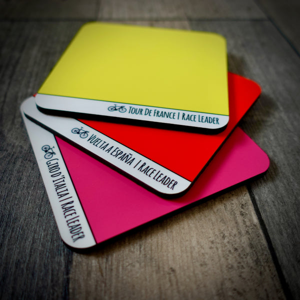 EllieBeanPrints Cycling Grand Tours Coasters