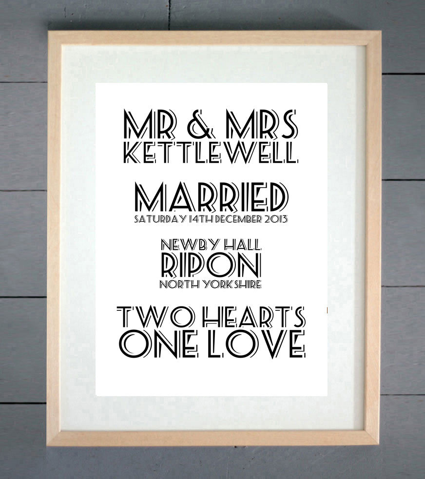 Resort Personalised Wedding Print