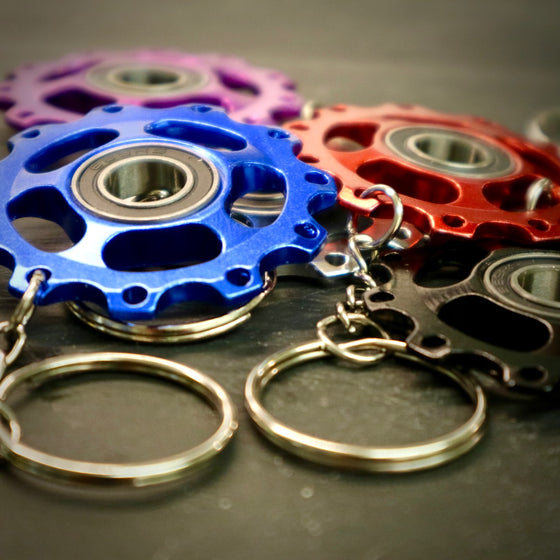 Alloy Anodised Jockey Wheel Bike Keyring