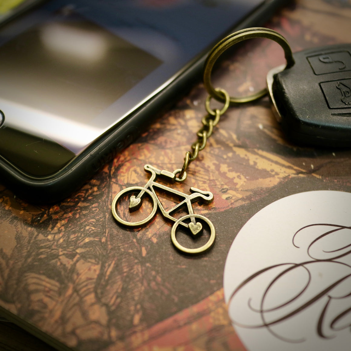 Antique Bronze Love Bike Keyring