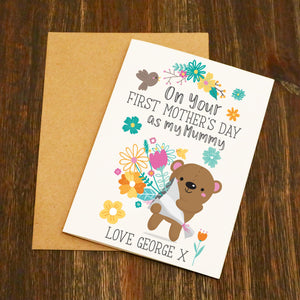 Cute Bear On Your First Mother's Day Personalised Card