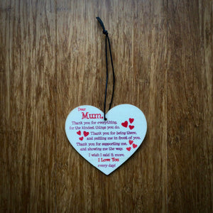 I Love You Everyday Mum Wooden Heart Plaque