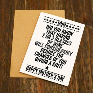 Did You Know Having 2 or 3 Glasses Of Wine Mother's Day Card