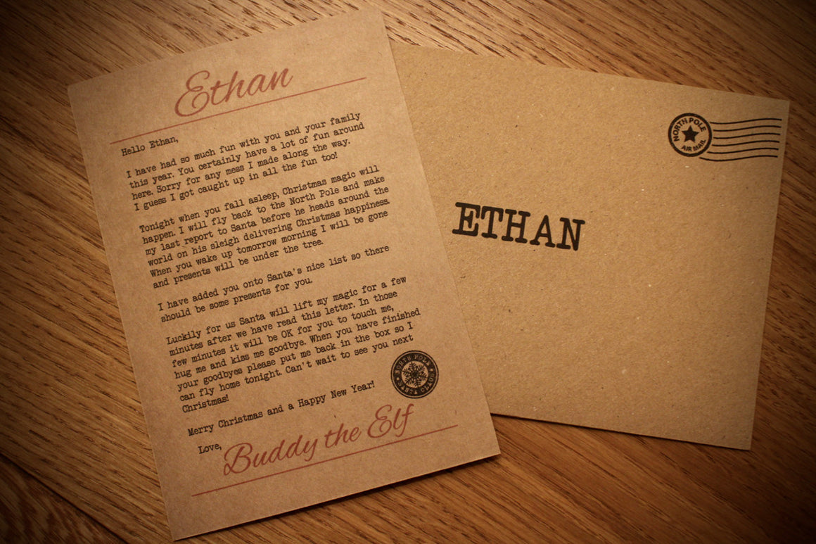 Elf - Personalised Goodbye Letter Postcard
