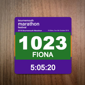 Bournemouth Marathon Race Bib Coaster