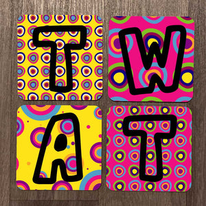 Tw*t Bright Fun Rude Coaster Set