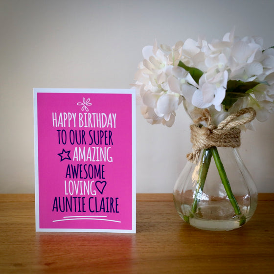 Personalised Amazing Auntie Birthday Card