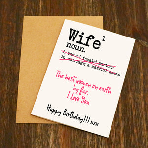 Wife Dictionary Definition Birthday Card