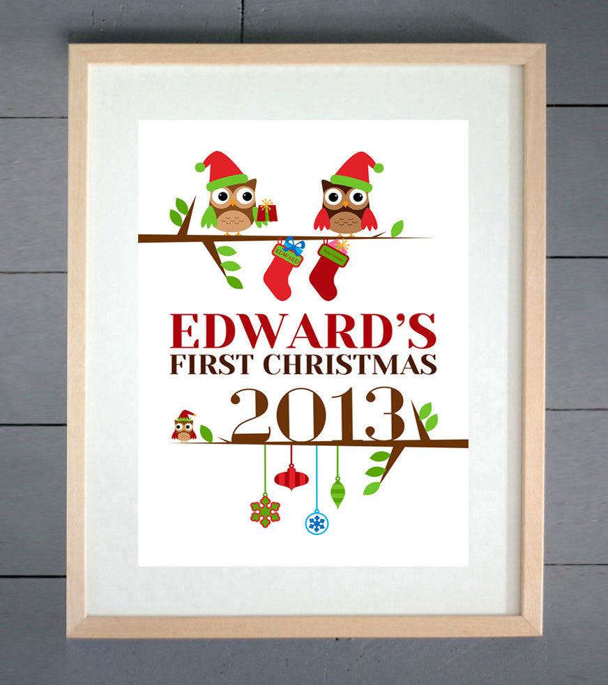 Baby's First Christmas Personalised Baby Print