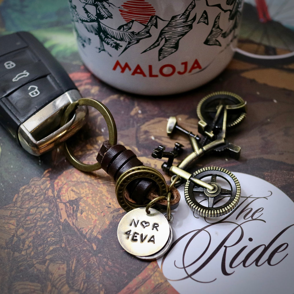 Valentines 4EVA Antique Bronze Mountain Bike Keyring