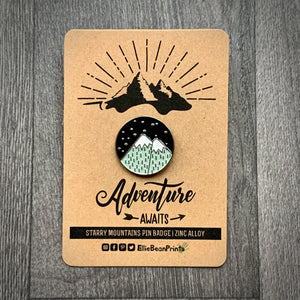 Starry Mountains Enamel Pin Badge