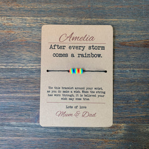 After Every Storm Comes A Rainbow Wish Bracelet & Personalised Postcard