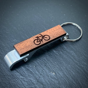 Bike Bottle Opener - Alloy - Wooden