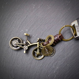 I Love You Antique Bronze Mountain Bike Keyring