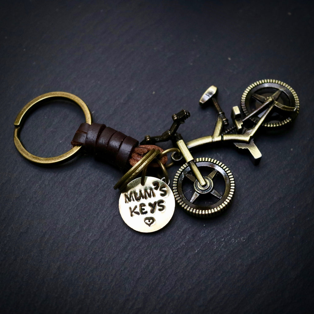 Mum's Keys Antique Bronze Mountain Bike Keyring