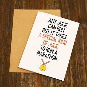 Personalised Anyone Can Run A Marathon Good Luck Marathon Running Card