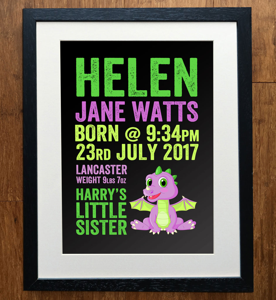 Bold Dinosaur Personalised Baby Print
