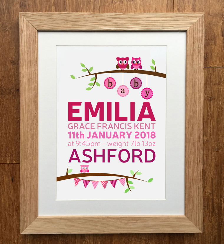 Baby Owls Personalised Birth Details Print