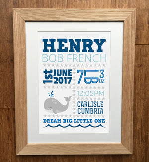 Baby Whales Personalised Birth Details Print