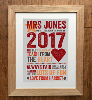 Best Teacher (Teach From The Heart) Personalised Print