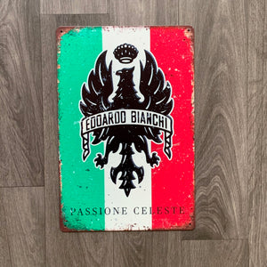 Bianchi Passione Celeste Italian Flag Retro Cycling Sign