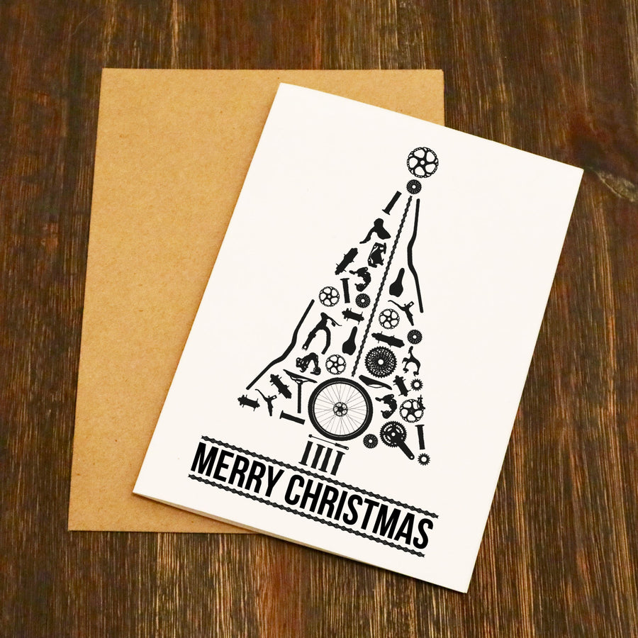 Bike Parts Christmas Tree - Cycling Christmas Card