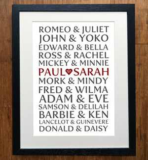 Personalised Modern Couples Print