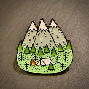 Camping In The Mountains Enamel Pin Badge