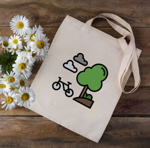 Cartoon Cycling Tote Bag