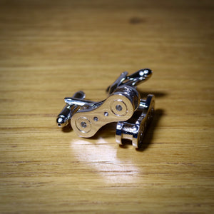 Chain Link Cycling Silver Plated Cufflinks