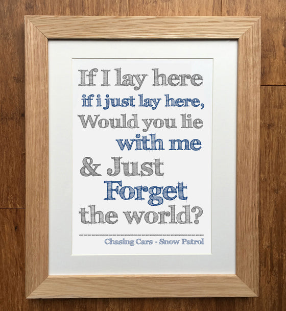 Chasing Cars - Snow Patrol - Music Lyrics Print