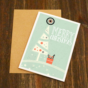 Classic Bike Part Christmas Tree - Cycling Christmas Card