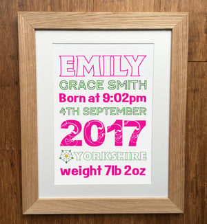 Classic Outline Personalised Print