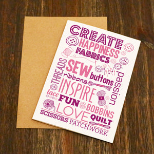 Create Sewing Craft Blank Greetings Card