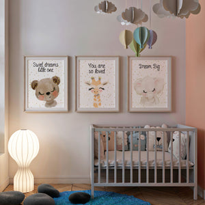 Cute Animals Nursery Print Set Of 3 Prints