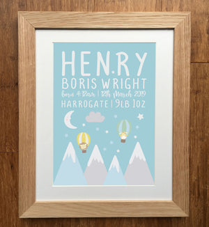 Cute Escape From The Mountains Personalised Birth Details Print
