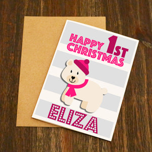 Cute Polar Bear Girls Personalised First Christmas Card