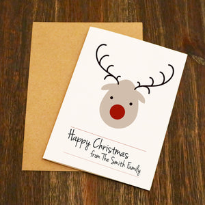 Cute Reindeer Personalised Family Christmas Card Multi-Pack